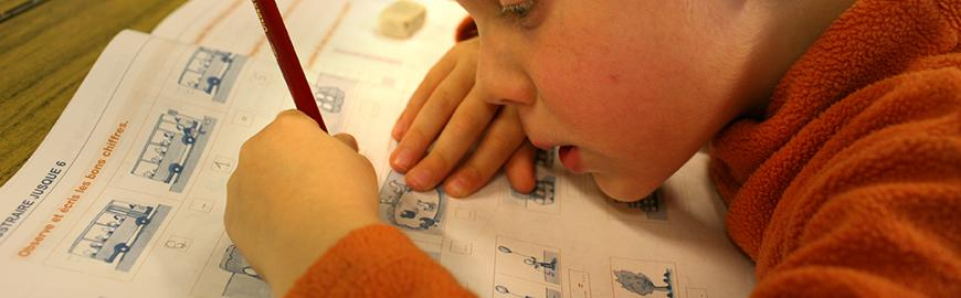 Un élève réalise un exercice.  PROF/FWB/Michel Vanden Eeckhoudt