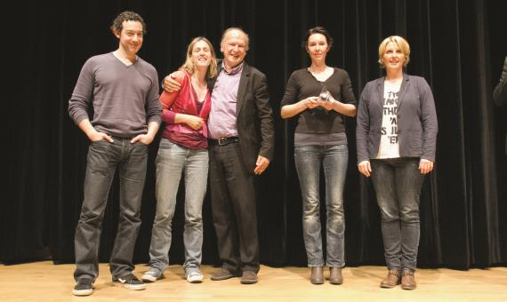 Les nominés du Prix des lycéens 2015 : T. Gunzig, G. Damas, G. Goffette, B. Abel (lauréate) et V. Gallo.
