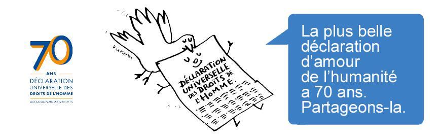 Bannière 70 ans Déclaration universelle des Droits de l'Homme  APNU